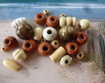 wooden beads beige with brown color and size variety Pack of 23