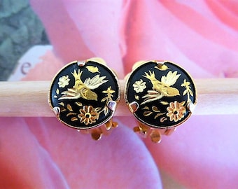 Earrings vintage birds and flowers cabochon gold black clip for non pierced ears