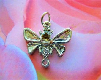 Topaz rhinestone and silver metal Butterfly connector charms