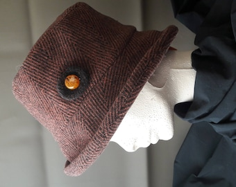 black and Brown herringbone Cap