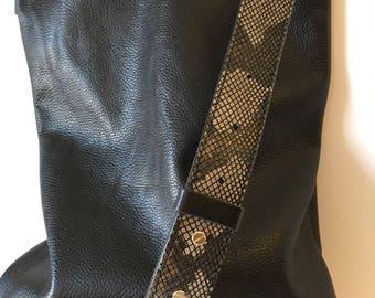 Genuine leather hobo bag with regulated handle - leather shoulder bag - Handmade crossbody hobo bag- shoulder bag
