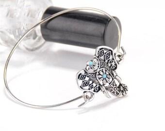 Sterling Silver and turquoise elephant bangel bracelet