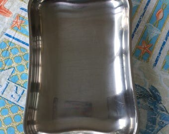 Vintage MCA Stainless Steel 18-8 serving dish with wood handles