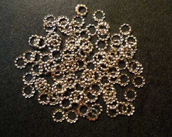 100 Indian Silver 5 mm metal spacer beads