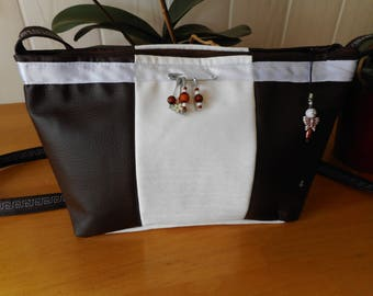 Brown and white shoulder bag