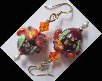 "Metal color gold ANTIALLERGIQUE ""Bouquet PASSION"" earrings"