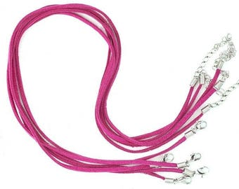 Set of 5 cords Choker Fuchsia suede of 45 cm in length