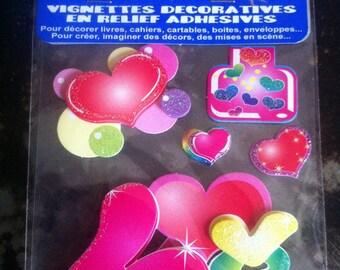 Hearts .assortis 3D scrapbooking STICKERS