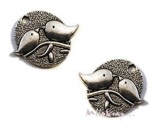 Set of 2 charms birds scrapbooking cardmaking embellishments