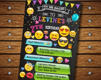 Emoji Invitation,Emoji Birthday Invitation,Emoji Party,Emoji Birthday,Emoji Invites,Emoji Printable,Girl Invitation,Emoji Card,Emoji