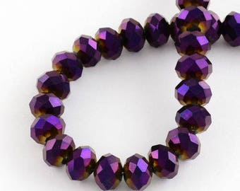 10 faceted Crystal 6 x 8 mm violet purple iridescent gold around the holes