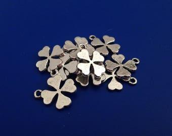 5 pendants lucky 4 leaf clover, silver