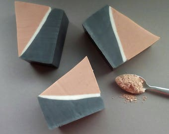 Pink clay soap - Detox clay soap - Oily skin soap - Organic skin care - Activated charcoal soap bar - Face and body soap - Purifying soap