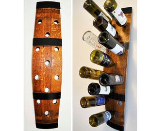 Barrel Stave Wine Rack, 12-bottle, wall-mounted