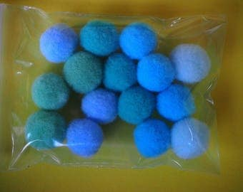lot 15 balls PomPoms textile tones turquoise 15mm for decoration, jewelry, mobile