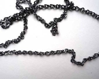 Long 76cm gunmetal with bail metal link chain