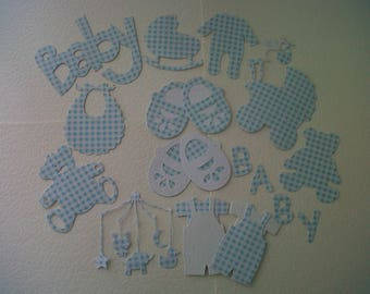 A pack of blue and white gingham baby die cuts. 14 in total