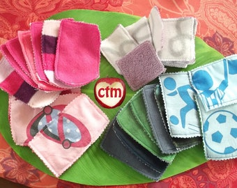 Set of 12 beautiful textile wipes for baby
