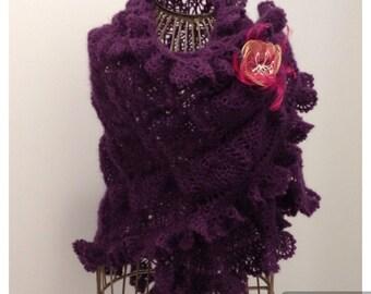 Shawl/scarf / Blueberry mohair/silk yarn