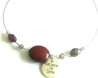Red, Burgundy necklace. Tidal neck silver.