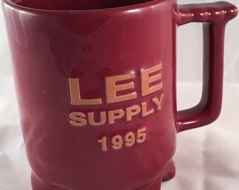 Vintage Frankoma Cup Lee Supply 1995, Maroon C1