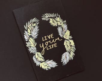 Hand painted black Moleskine Journal