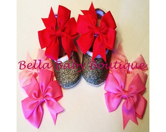 Gold Glitter Baby Girl Shoes With 3 Detachable Pink Bows- Special Occasion Shoes