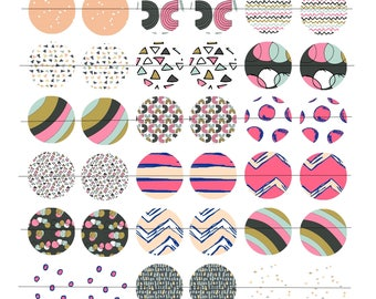 """48 images for cabochons 25mm (1 inch) Board, """"Colored Doodles"""" theme"""
