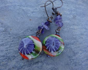 Earrings romantic poetic daisies Murano - spun glass beads, gemstones, orange, purple, green