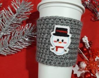 Snowman coffee sleeve, coffee cozy, holiday coffee cozy, Christmas coffee sleeve, winter coffee sleeve, gift for coffee lovers, snowman cozy
