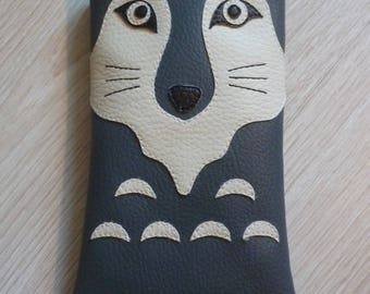 Cover phone cell Wolf faux leather
