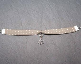 Bracelet fine liberty beige/taupe polka dots - charms