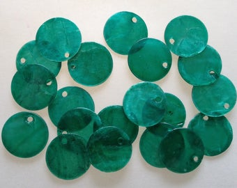 LOT 30 beads mother of Pearl LOZENGE SEQUIN 15mm Green 11 natural hole