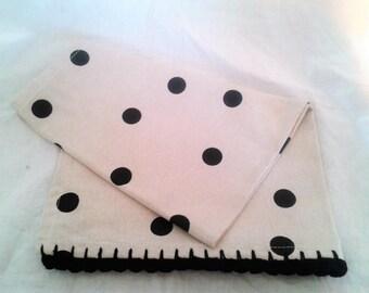 Tea Towel - Black polka dots