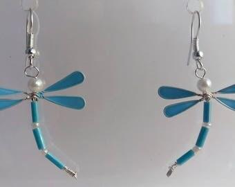 Boucles d'oreilles libellule bleu claire
