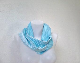 Scarf collar snood tubular scarf, tube scarf blue scarf, geometric cotton