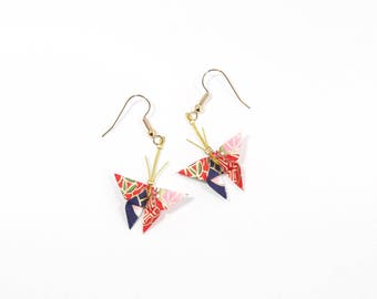 Jewelry Origami butterflies earrings Japanese paper multicolor (blue green pink red gold)