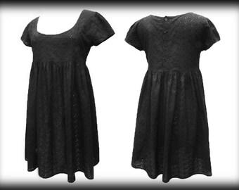 Gothic Lolita Dress, Baby Doll Vintage Gothic Dress, Black Broiderie Anglaise Dress, Alternative Clothing, UK Size 12, US Size 8, EU Size 40