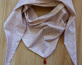 Large triangular scarf with Pompoms in spring colors