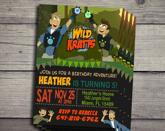 wild kratts Birthday Invitation, wild kratts Birthday Invite, wild kratts Invitations, Birthday Invite