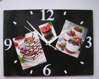 Clock / wall clock in Slate: pastries, cakes
