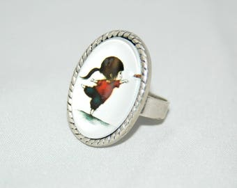 Ring cabochon - Image girl with butterfly