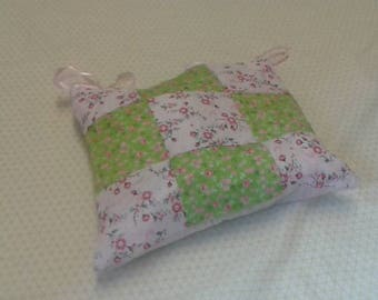 Green and pink patchwork cushion cover