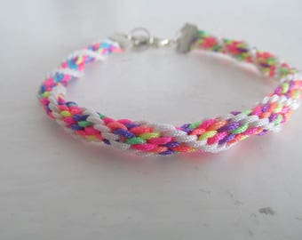 Beautiful kumihimo bracelet multicolor #4 charm