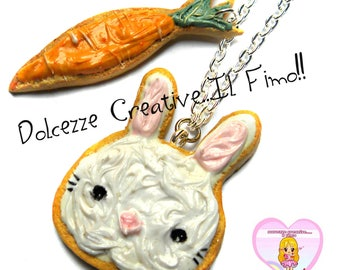 Necklace Cookies - Cookies in the form of frosted Bunny and carrot! kawaii handmade