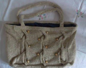 Ecru hand bag with beads