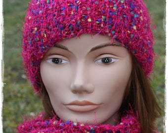 Hat and snood, hat and snood pink wool fancy knit neck.