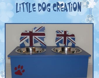 English Bulldog silhouette dog bowls stand