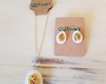 Deviled Egg Earrings and Pendant Necklace