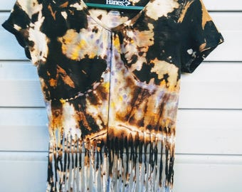 Fringed bleached and dyed short sleeve shirt, size small